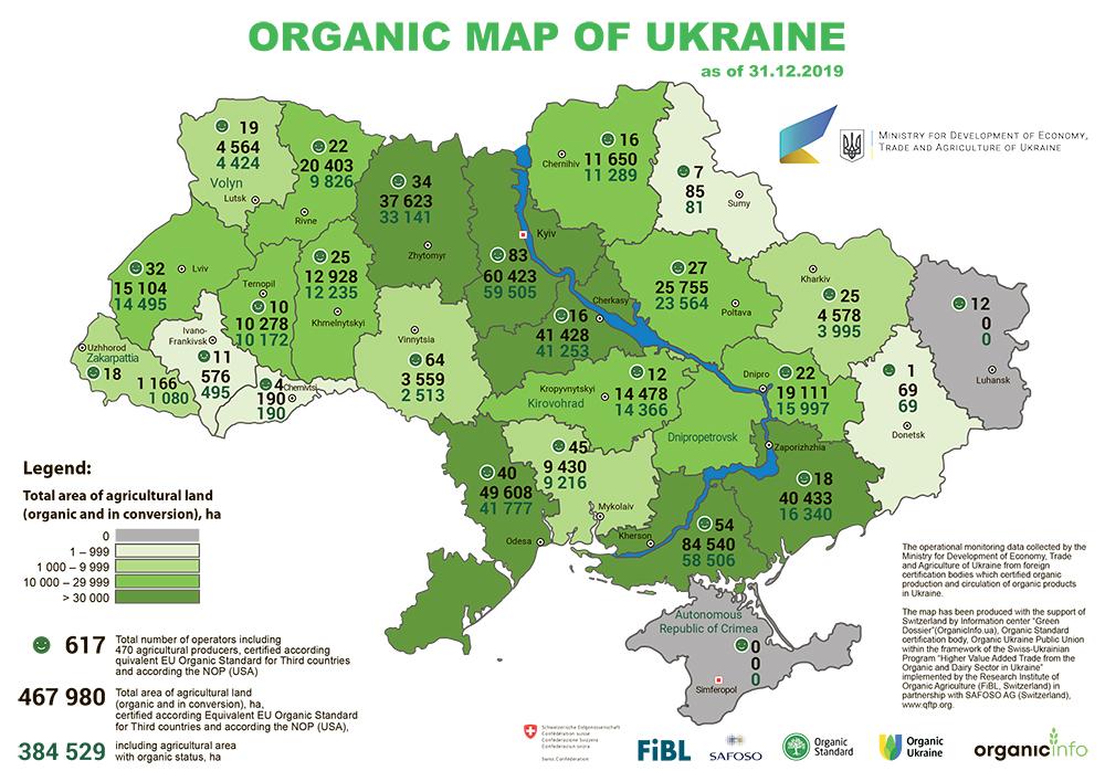 Organic map of Ukraine 2019